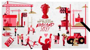 Rugby League World Cup Legacy Creative illustration. Earnie creative design